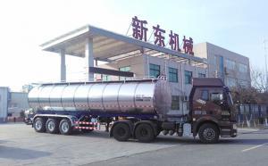甘肃客户订购的33吨半挂鲜奶大罐车发货