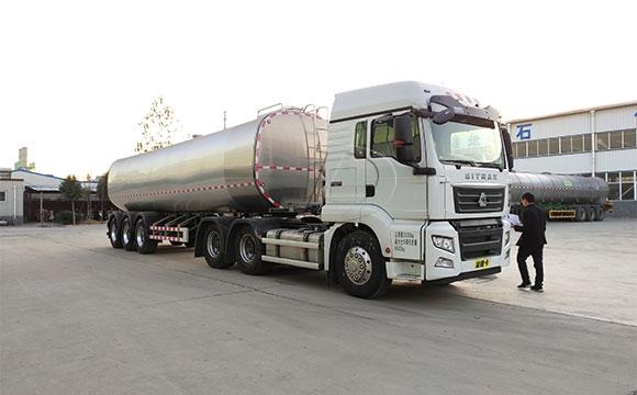 甘肃40吨大型半挂运输牛<a href=/ target=_blank class=infotextkey>奶罐车</a>下午发货