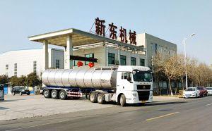 湖北35吨轻量化鲜奶运输半挂车发往随州