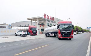 我公司兩臺35噸鮮奶運輸槽罐車發往